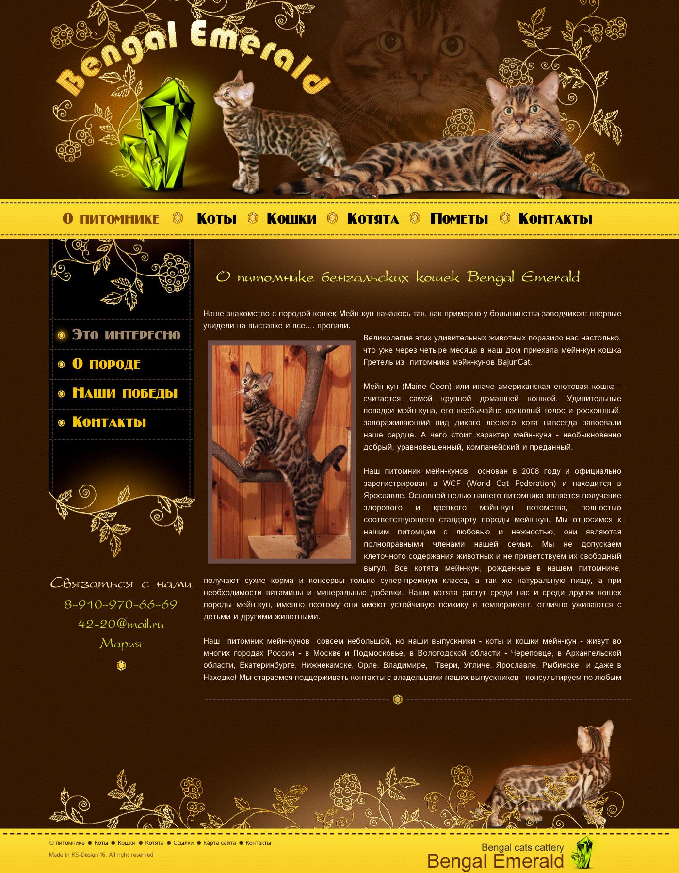 разработка сайта для питомника кошек