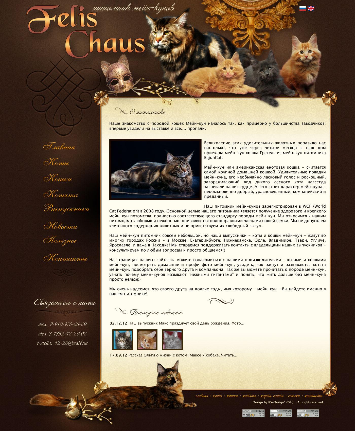 дизайн сайта питомника мейн-кунов