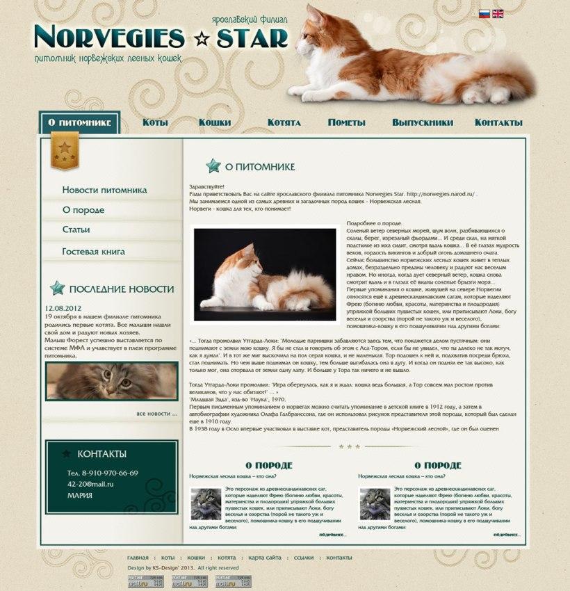 дизайн сайта питомника норвежских лесных кошек
