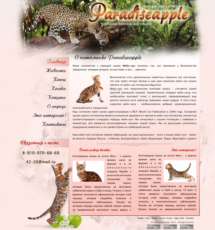 дизайн сайта питомника бенгальских кошек