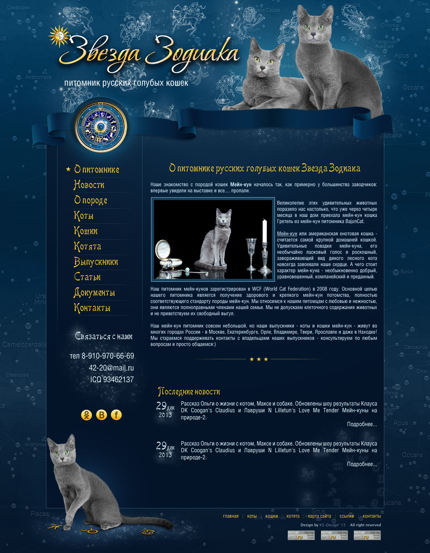 дизайн сайта для кошек